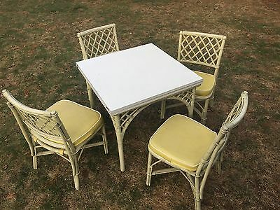 Vtg Ficks Reed Mid Century Modern Rattan Bamboo Dining Set Square Table 4 Chairs