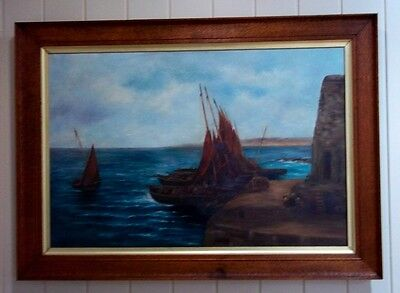 Vintage Oil Painting in Oak Frame , signed by artist