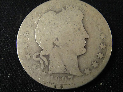 1907 D  Circulated  Silver Barber Quarter