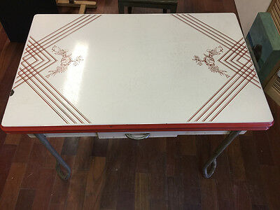 Vintage Midcentury 40s Expanding Enamel Kitchen Table Red White
