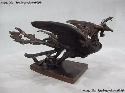 Chinese Royal Palae Red Copper Feng Shui Lucky Fly rosefinch Phoenix Bird Statue