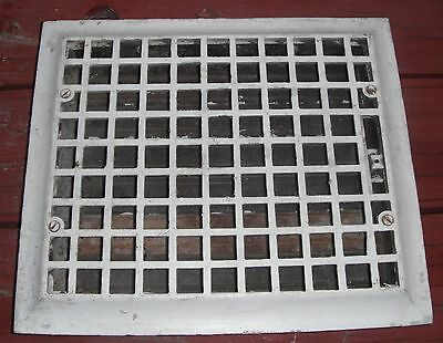 "Antique cast iron floor heat register grate with Louvres 14"" x 12"""