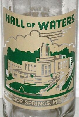 Vintage soda pop bottle HALL OF WATERS cream and green 1955 Excelsior Springs MO