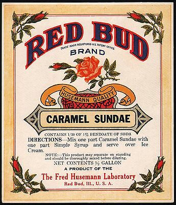 Vintage soda pop bottle label RED BUD CARAMEL SUNDAE Fred Husemann Red Bud ILL