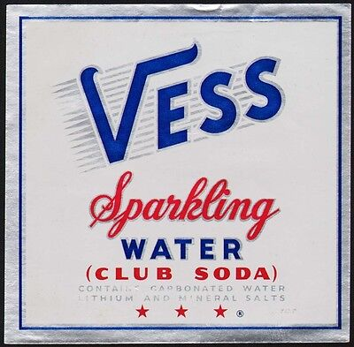 Vintage soda pop bottle label VESS SPARKLING WATER CLUB SODA contains lithium