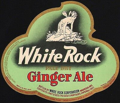 Vintage soda pop bottle label WHITE ROCK GINGER ALE die cut Psyche Waukesha Wis