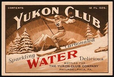 Vintage soda pop bottle label YUKON CLUB WATER woman skiing pic Philadelphia PA