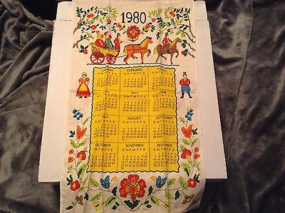 """Vintage 1980 Linen Kitchen Towel Cloth Calendar Early American Carriage 27""""x16"""""""