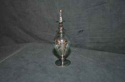 Green Glass with Star Etched Design Perfume Bottle