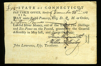 State of Connecticut 1781 Pay-Table Office Hartford 15 Pounds NO RESERVE