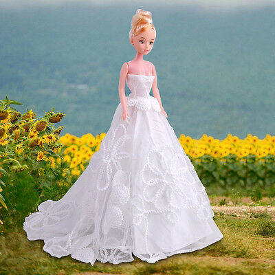 White Bridal Princess Dress Gown Wedding Evening Clothes for Barbie Doll Party
