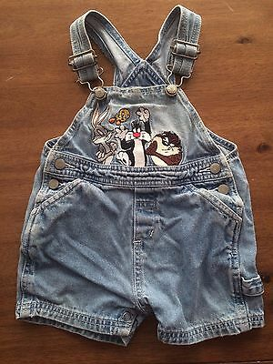 Looney Tunes Warner Bros Baby 12m Overalls Shorts VTG 90s Taz Bugs Tweety Denim
