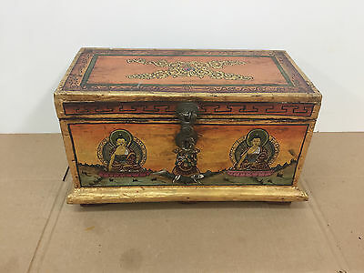 Unique Antique Hand Made Hand Painted Folk Art Chinese Wood Wooden Box
