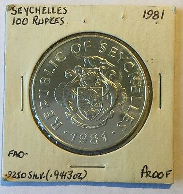 1981 Seychelles Silver Proof 100 Rupees World Food Day FREE Ship