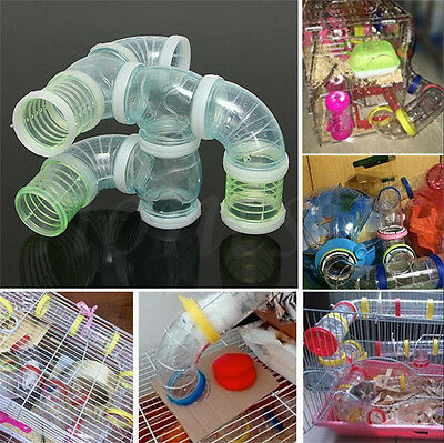 Hamster Cage T Shaped/Curved/Straight Glitter Tube Plastic /Ring /Rubber tunnel