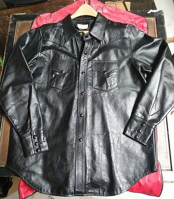 MINT! RARE 1950's VINTAGE HORSEHIDE LEATHER JACKET CAR COAT NEW YORK -HAND MADE