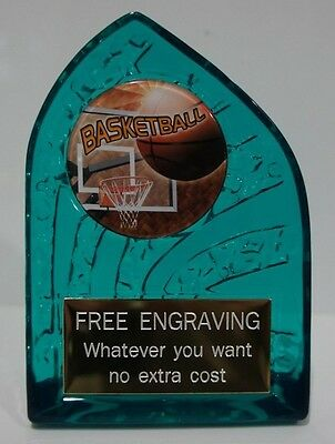 1 X BASKETBALL  ACRYLIC TROPHY 130mm High, FREE ENGRAVING NO CHARACTER LIMITS