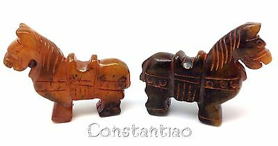 Two Gorgeous And Cute Orange-Brown Old Hand-Carved Jade Chinese Horses