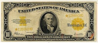 1922  US $10 Dollar Gold Certificate          (STAR NOTE)