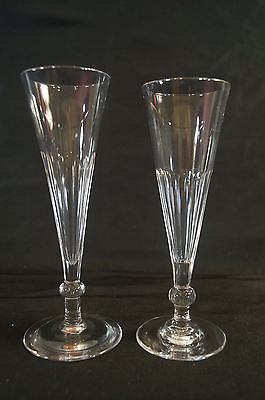 Pair of Mid 19th Century Panel Cut Crystal Champagne Flutes Possibly Pittsburgh