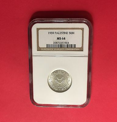 1939 -UNCIRCULATED PALESTINE 50 Mils ,CERTIFIED BY NGC MS64..rare grade.