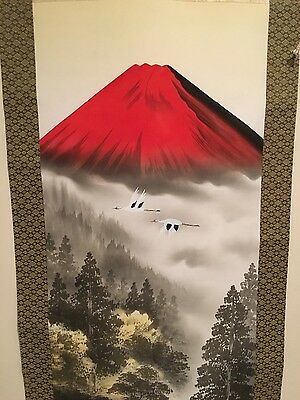 Japanese Scroll painting art red mountain with birds