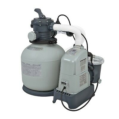 Intex Krystal Clear 1500 GPH Sand Filter Pump & Saltwater System with E.C.O. ...