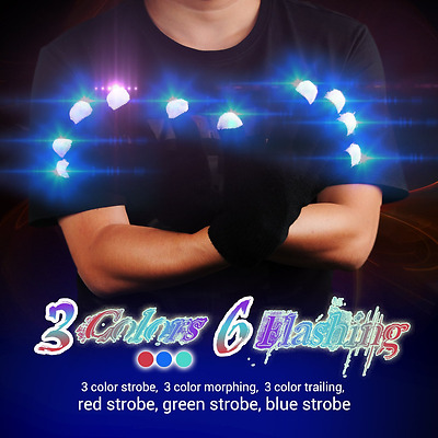 Led Light Gloves Up 3 Colors 6 Modes Light Show Flashing Finger Rave For Party