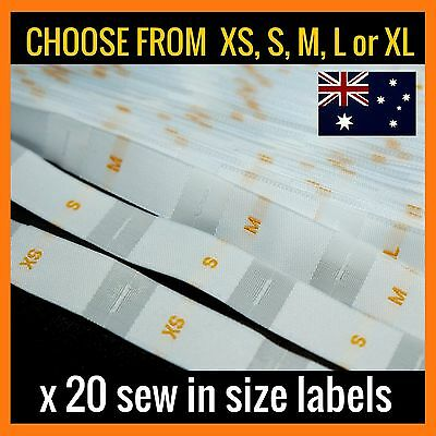 20 x XS S M L or XL clothing size label tag sew in white woven tabs fabric