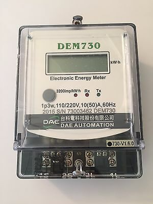 DAE DEM730-U Electric kWh Submeter, 1 phase, 3 wire, 120/240V, 50A, Internal CTs