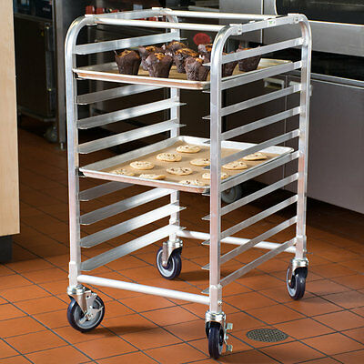 Commercial Kitchen 10 Sheet Bun Pan Bakery Rack Aluminum Oven Load Cart