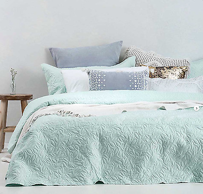 Botanica Glacier Quilted Single Double or Queen King Bedcover Coverlet Bedspread