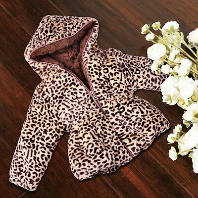 Winter Hooded Warm Baby Girls Leopard Grain Cotton Coat Toddler Outerwear Jacket