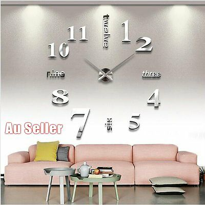 Modern DIY Chic Large Wall Clock 3D Mirror Surface Sticker Home House Decor Art~