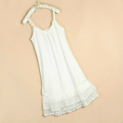 Ladies Lace Full Slip Camisole Under Dress Spaghetti Braces Underskirt Petticoat