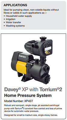 Davey XP 45T with Torrium2 Home Pressure System