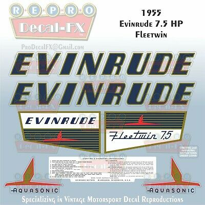 1955 Evinrude 7.5 HP Fleetwin Aquasonic Outboard Repro 8Pc Marine Vinyl Decals