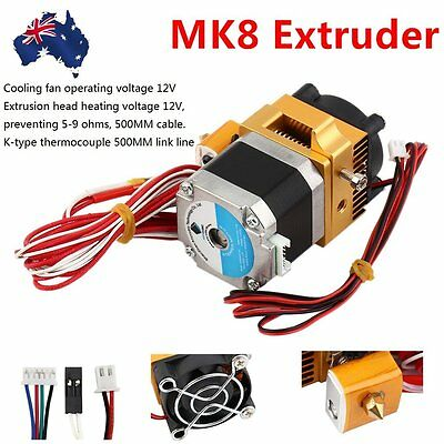 3D Printer Head MK8 Extruder 1.75 Filament Extra Nozzle Extruder Accessory CU