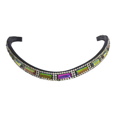 NEW Black Leather BLING BROWBAND Rainbow & Clear Crystals *PONY COB FULL WB*