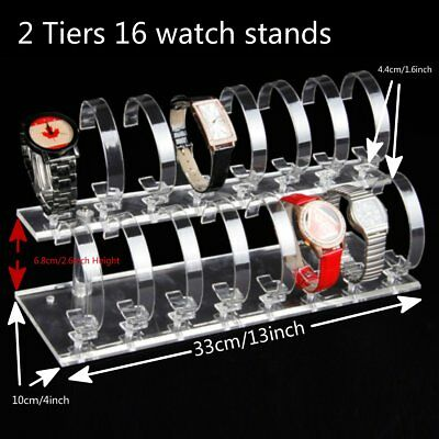 2 Tiers 16 Stands Clear Acrylic Jewelry Watch Retail Display Showcase