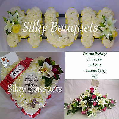 Artificial Silk Funeral Flower Package Mum Nan Wife Wreath Bouquet Tribute Grave