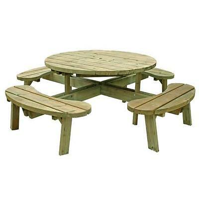 8 Seater Round Picnic Table Wooden Bench - Pub / Garden Seating