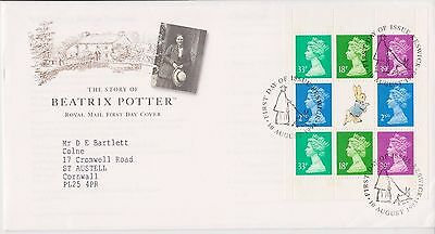 Gb Royal Mail Fdc Cover 1993 Prestige Pane Beatrix Potter Machins Keswick Pmk