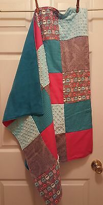 Modern Handmade Baby Girl Quilt Owls, Damask, Dots, Minky, Pink, Turquoise