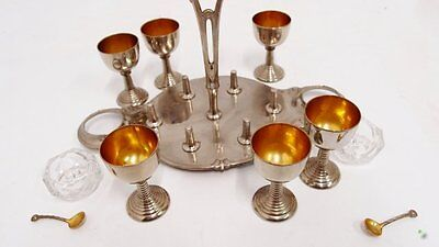 Eierbecher 6x mit Fuß Menage Salzmetze Art Deco Eierhalter alt Set egg holder