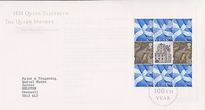 Gb Royal Mail Fdc Cover 2000 Hm The Queen Mother Prestige Pane Bureau Pmk