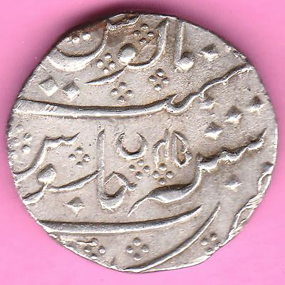 French India-Arkat Mint-Ah:1220/ry:45-Shah Alam-One Rupee-Rarest Silver Coin-45