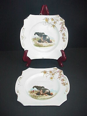 Antique German Porcelain Pheasant Game Bird Plates Lot 2 Tab Handles