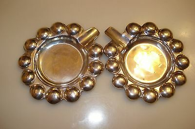 """Mexico Set Of Two Ashtrays """"bubble Pattern"""" Solid Sterling Silver  58 Grams"""