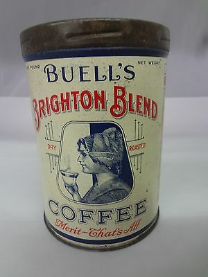 Vintage Buell's Brighton Blend Coffee Advertising W/lid Collectible  694-Y